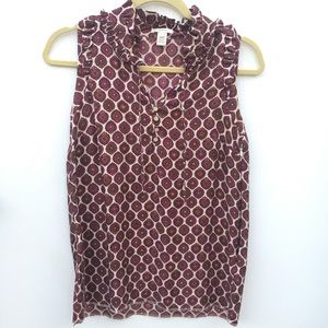 J Crew 100% Silk Sleeveless Blouse Size 2